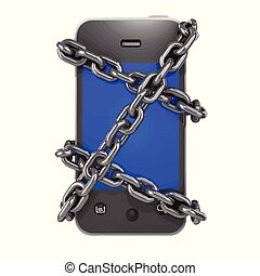 3d Chained smartphone - 3d render of a chained up smartphone