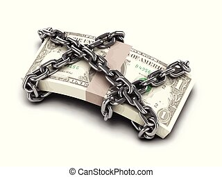 3d Chained US Dollars - 3d render of a stack of US Dollars...