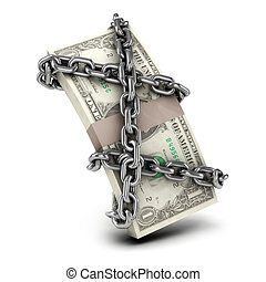 3d Chained US Dollars - 3d render of US Dollars wrapped in...
