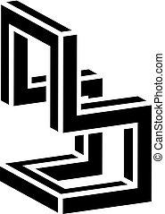 3D chair black symbol