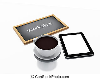 3d chalkboard, cup of coffee and Tablet pc. workplace concept
