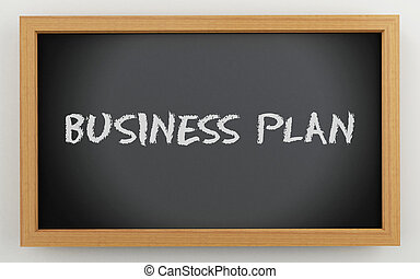 3d chalkboard with Business plan text