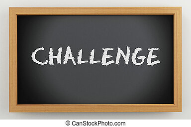 3d chalkboard with Challenge text