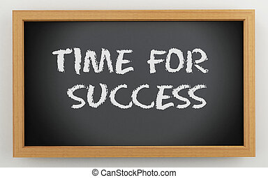 3d chalkboard with time for success text