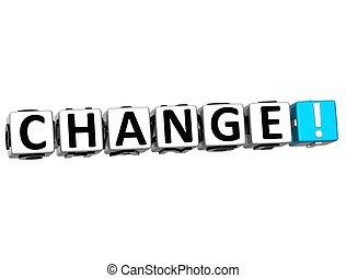 3D Change  Block Text  on white