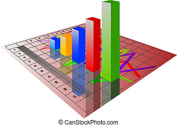 illustration of 3d image of business graph with growing chart