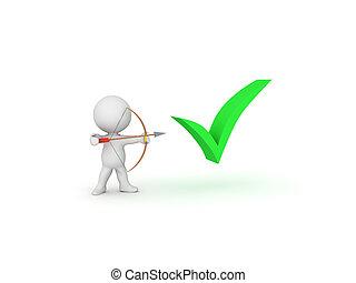 3D Character aiming bow and arrow at green checkmark