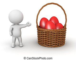 3D Character and basket with eggs