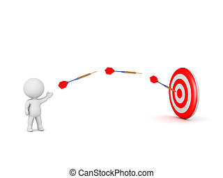3D Character and Dart Arrows Flying Toward Target