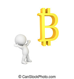 3D Character being in awe of bitcoin symbol