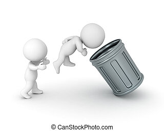 3D Character being thrown in a retro garbage can
