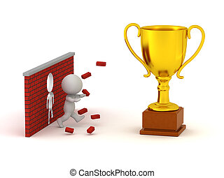 3D Character Breaking Through a Wall and Getting a Large Trophy