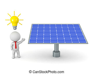 3D Character Businessman with Idea Light Bulb Showing Solar Panel