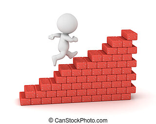 3D Character Climbing Brick Stairs