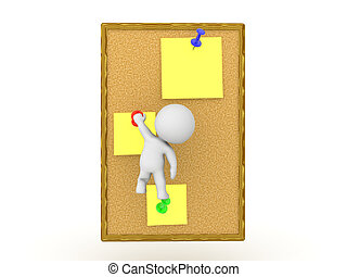 D Character climbing yellow sticky notes on wooden board