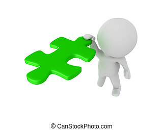 3D Character clinging onto flying green puzzle piece....