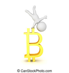3D Character doing a handstand on a bitcoin symbol