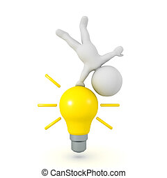 3D Character doing a hanstand on a bright yellow light bulb
