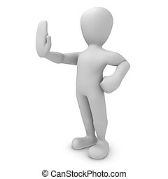 3d character doing stop with hand