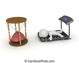 3D Character exhausted after cardio workout