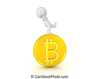 3D Character falling off of bitcoin