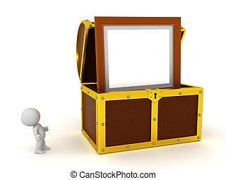 3D Character Finds a Painting Inside a Treasure Chest
