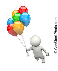 3D Character Flying with Bunch of Balloons