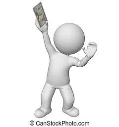 3d character holding 50 dollar bill