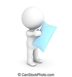 3D Character holding a blue pillow