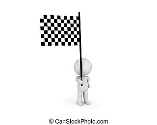 3D Character holding a checkered flag