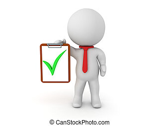 3D Character holding a clipboard with a green check mark