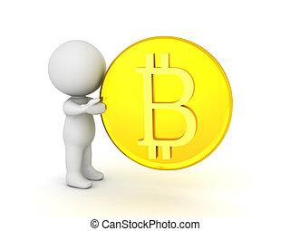 3D Character holding a golden bitcoin