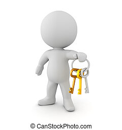 3D Character holding a key chain with multiple colored keys