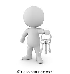 3D Character holding a key chain with silver keys