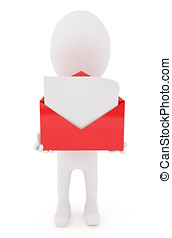 3d character holding a open envelope with blank letter...