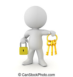 3D Character holding a padlock and a keychain