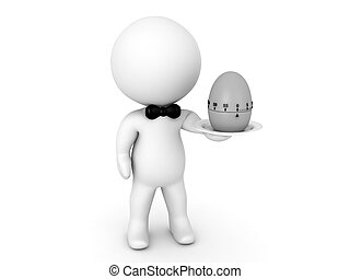 3D Character holding a pomodor egg timer on a plate