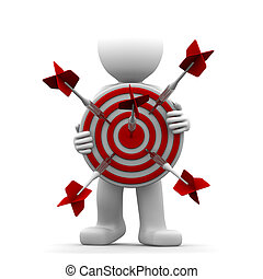 3d character holding a red archery target. Conceptual illustration