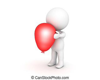 3D Character holding a red balloon