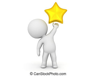 3D Character holding a shiny gold star in his left hand