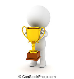 3D Character Holding a Small Gold Trophy