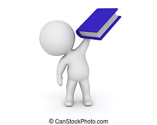3D Character Holding Book
