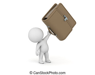 3D Character Holding Briefcase
