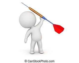 3D Character Holding Dart Arrow