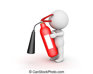 3D Character holding fire extinguisher