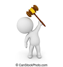 3D Character holding gavel above his head