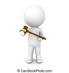 3D Character holding gavel in his hands. Image relating to...