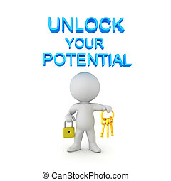 3D Character holding keys and padlock with unlock potential text