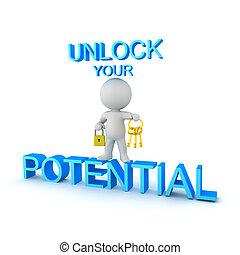 3D Character holding keys and padlock with uplifting text