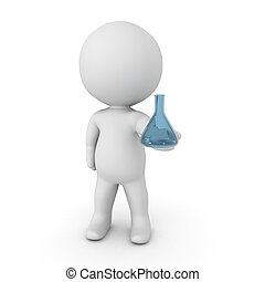 3D Character holding laboratory flask